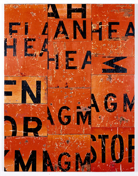 Rosalie Gascoigne Party Piece, 1988; Retro-reflective road signs on plywood; 108 x 83.5 cm; enquire