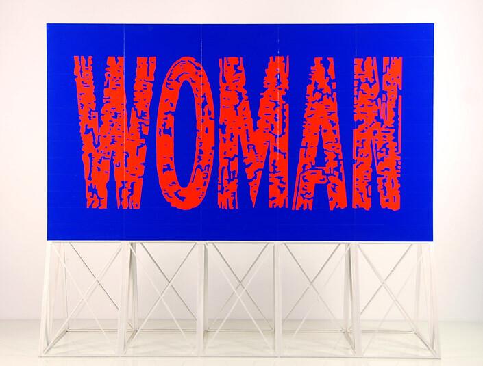 Callum Morton Screen #25: Woman, 2011; wood, acrylic paint, varnish; 93 x 110 x 45.5 cm; table 88 x 115 x 49.5 cm; enquire