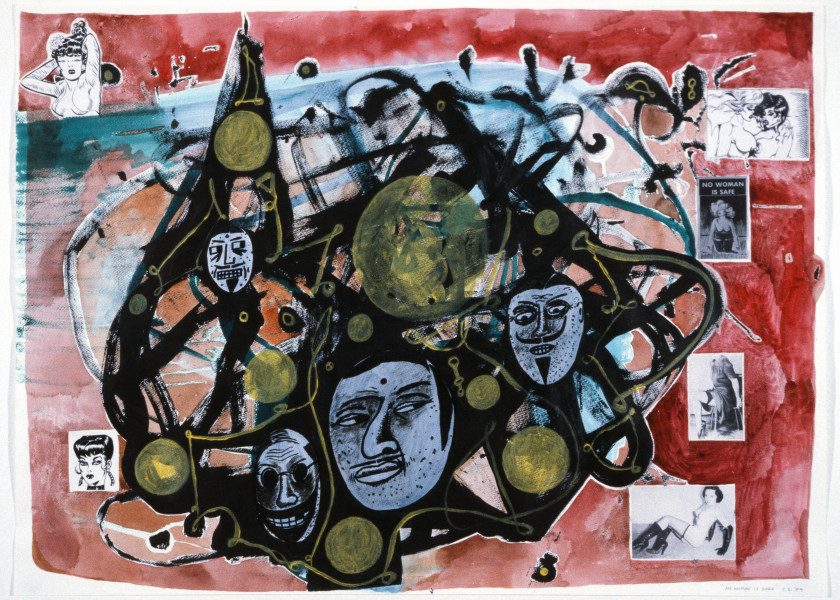 Gareth Sansom No Woman is Safe, 1989; watercolour, acrylic, ink and collage on paper; 56 x 76 cm; enquire