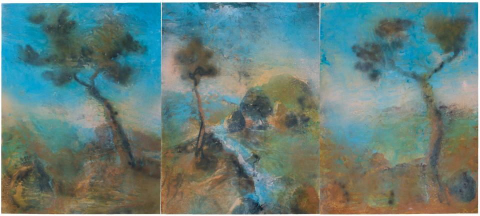 Tony Clark Sections from Clark's Myriorama, 2008; Acrylic on canvas - Triptych; 243 x 550 cm; (243 x 183cm per panel); enquire