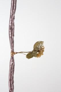 Sarah  Contos Rosebush (detail), 2017; steel, pressed roses, metallic fabric, epoxy, poly-fil, copper, thread; 240 x 30 x 30 cm; Enquire