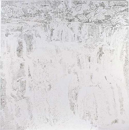 Nike Savvas Waterfall (silver), 2003; foil and acrylic on canvas; 162.5 x 160 cm; enquire