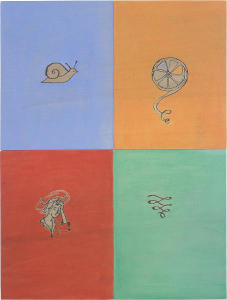 Vivienne Shark LeWitt Mystic Spirals, 2000; ink and acrylic on wood; 2 panels: 19.5 x 30 cm each; enquire
