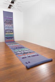 Mikala Dwyer Moon, 2009; appliqued banner; 1000 x 123 cm; enquire