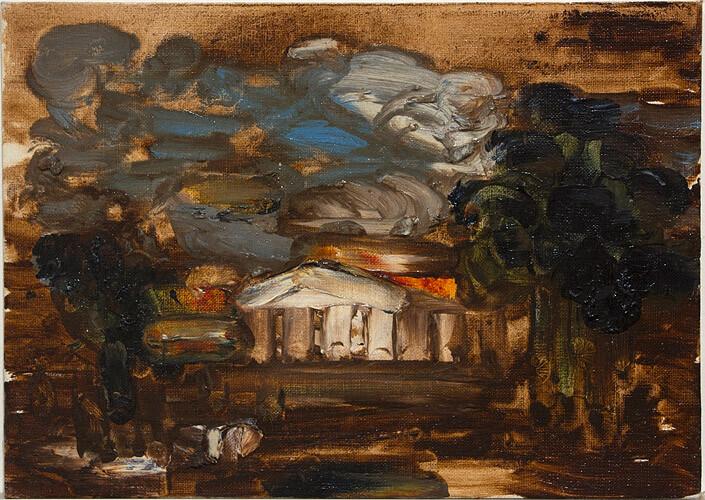 Tony Clark Sacro-Idyllic Lanscape, 0; oil on canvas board; 25.5 x 35.5 cm; enquire