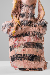Linda Marrinon Woman with striped top (detail), 2020; plaster, hessian, foam; 50 x 26 x 16 cm; enquire