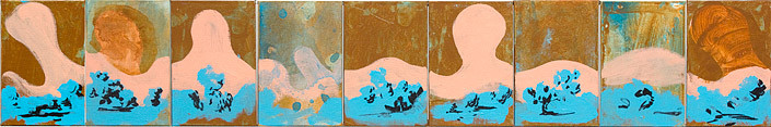 Tony Clark , 0; acrylic and permanent marker ink on canvas; 15.1 x 10.1cm (each panel) 15.1 x 90.9cm (overall) ; enquire