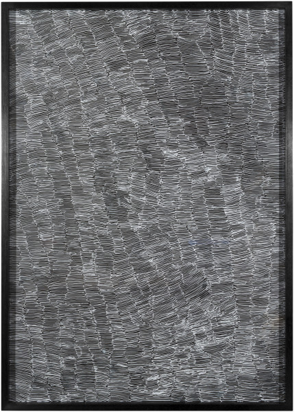 Nyapanyapa Yunupingu Untitled, 2012; 4305P - AC 6.11 Birrka'mirri; paint pen on clear acetate plastic; 86 x 61.5 cm; (framed); enquire