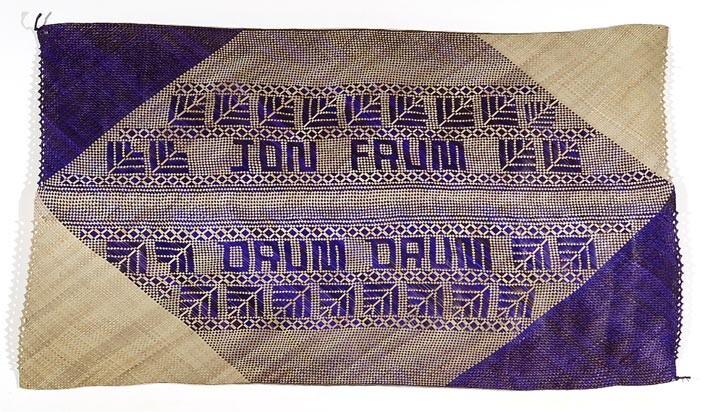 Newell Harry untitled (Jon Frum / Drum Drum), 2007; from the series gift mat; Pandanus and dye; 114 x 203 cm; irregular; enquire