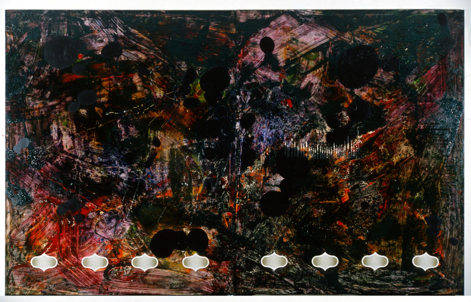 Dale Frank Okay Get Down And Shout—Under The Tank Stand, 1989; acrylic resin & printed vinyl on canvas; 240 x 400 cm; enquire