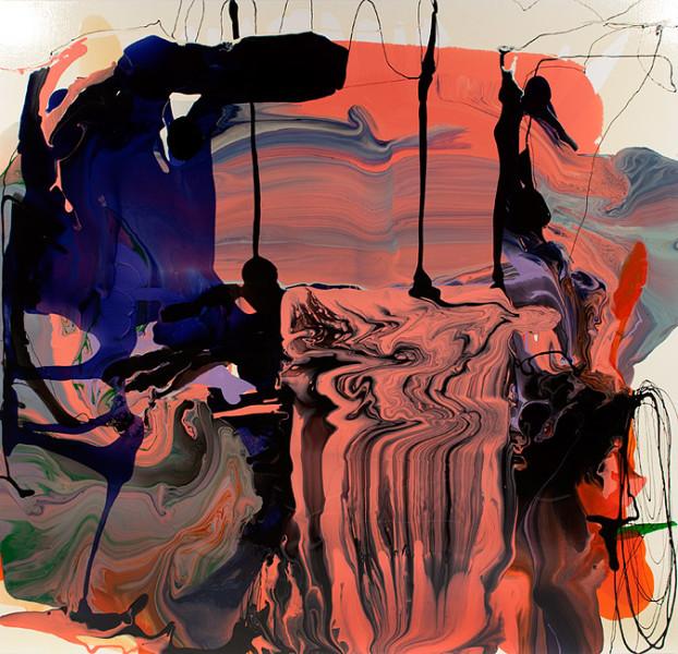 Dale Frank Tickling my prejudice, 2011; varnish on canvas; 200 x 200 cm; enquire
