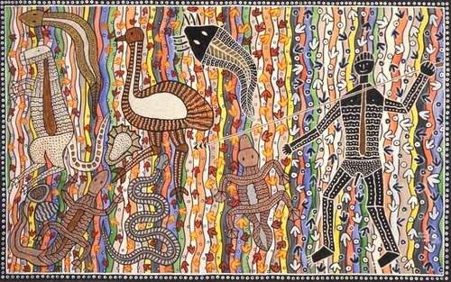 Robert Campbell Jnr Hunting tucker, 1990; ochre and acrylic on canvas; 124 x 199 cm; enquire