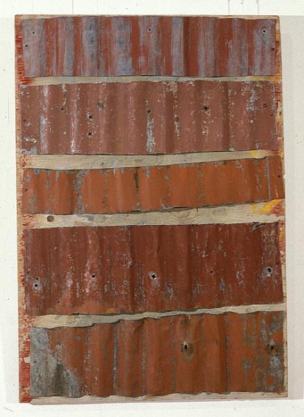 Rosalie Gascoigne Rose Red City #10, 1993; corrugated iron on wood; 108.5 x 76 cm; enquire