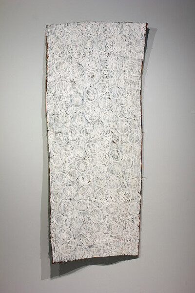Nyapanyapa Yunupingu White Painting (circles) , 2011; 0910YR; natural earth pigments on bark; 170 x 70 cm; enquire