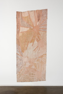 installation view; Nyapanyapa Yunupingu Ganyu Djulpan, 2019; 7196-19; natural earth pigments on bark; 255 x 108 cm; enquire