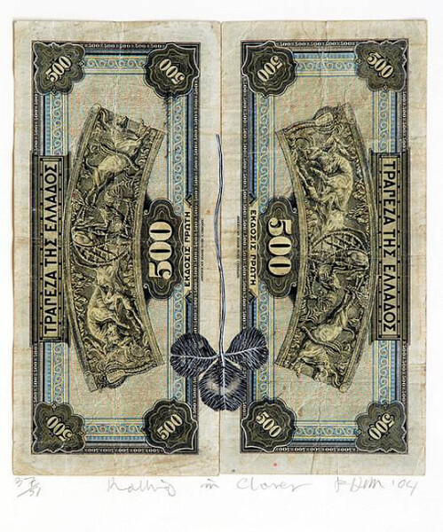 Fiona Hall Rolling in Clover - 37/51, 2004; Gouache on banknotes; 18.6 x 17cm (note) 39.8 x 37.8cm (frame); enquire