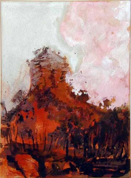 Mandy Martin The Sentinel, Salvator Rosa Section after Mitchell, 2002; pigment, ochre, hematite, mica, wax medium & acrylic binder on paper; 40 x 30 cm; enquire