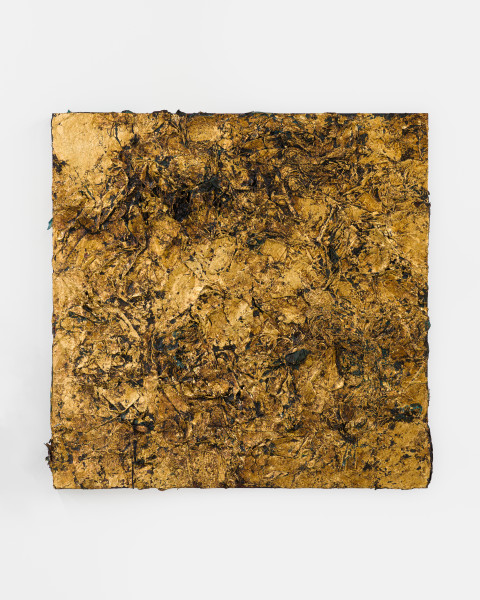 Kirtika Kain The Solar Line X, 2020; Tar, screen printing emulsion, gold leaf, rice paper, beeswax, disused silk screen; 88 x 88 cm; enquire