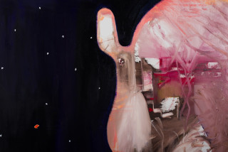 Gareth Sansom Space Junk (detail), 2019; oil and enamel on linen; 183 x 244 cm; Enquire