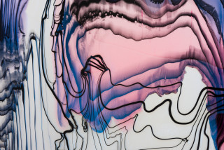 Dale Frank Andrew squatting on the banks of the Helmand River over a hand dug latrine pants around his ankles while trying to pick out the large crabs in his really long white ginger pubic hair (detail), 2021; Colour pigment in Easycast, Epoxyglass, on Perspex; 200 x 260 cm; enquire