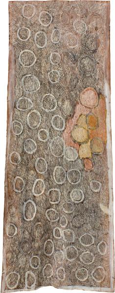 Nyapanyapa Yunupingu Red and Yellow Circles, 2011; natural earth pigments on bark; 114 x 62 cm; enquire