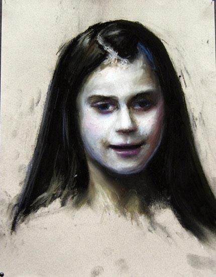 Louise Hearman Untitled #1064, 2005; pastel on coloured paper; 32 x 25 cm; enquire