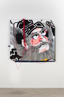 installation view; Claire Healy and Sean Cordeiro Shoki, 2020; Iroquois aircraft panel, acrylic gouache, polyester cord; 130 x 145 x 10 cm; enquire