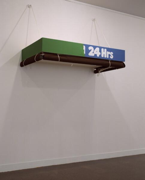 Callum Morton 24 hrs, 1995; wood, canvas, rope, paint, steel; dimensions variable; enquire