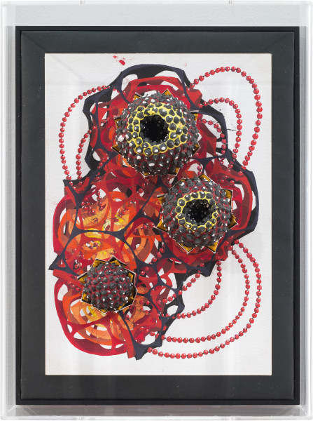 Rohan Wealleans 3d aboriginal painting model horror-gami  Magma, 2014; paint, gouache and polystyrene on original pencil and inks; 36 x 27 x 11.5 cm; enquire