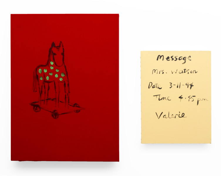 Jenny Watson Keeping the Wheels On, 1994; Oil on red velvet; 96 x 70 cm; & 61 x 46 cm; enquire