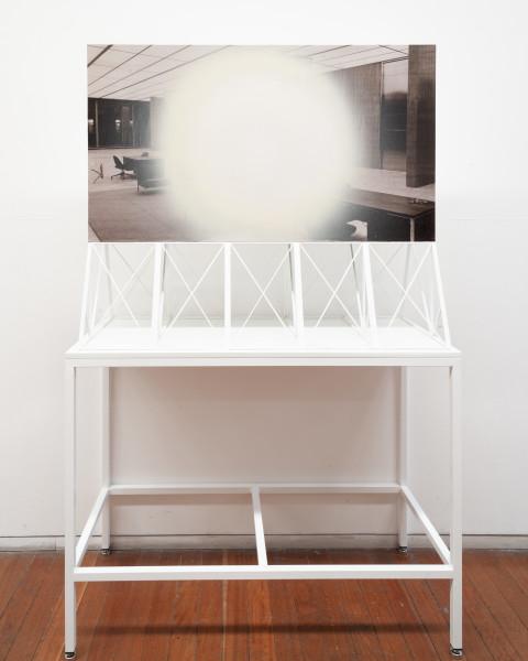 Callum Morton Screen #19: Shellhole, 2009; wood, acrylic paint, aluminium, paper; 93 x 110 x 45.5 cm; table 88 x 115 x 49.5 cm; enquire