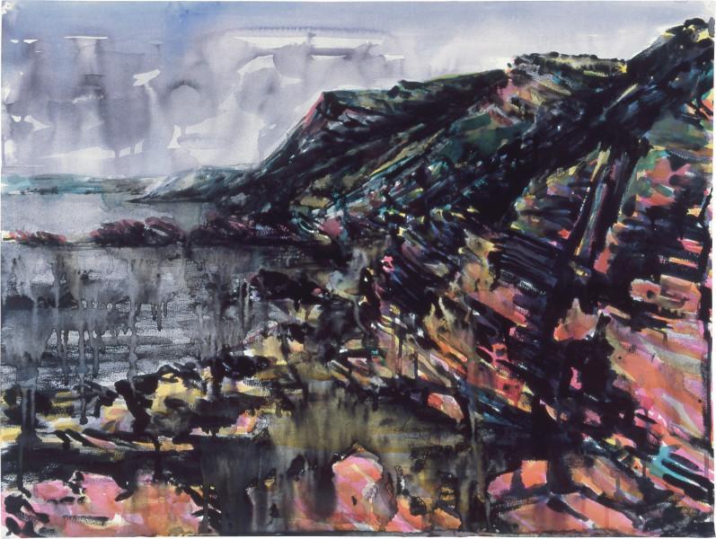 Mandy Martin Drawing for Coastal Landscape 1, 1985; pigment, enamel paint on arches paper; 56.5 x 75.6 cm; enquire