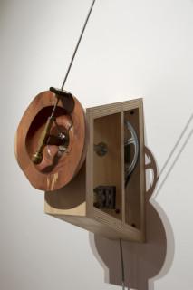 Marley Dawson Untitled (tumbleweed again), 2013; Tumbleweed, stainless steel, brass, electrics, mechanics, MDF, timber; 140 x 140 x 51 cm; enquire
