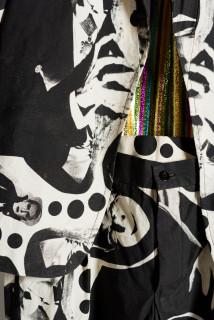 Sarah  Contos Dracula Suit, 2019; screen-print on cotton, lamé; artist size; Enquire