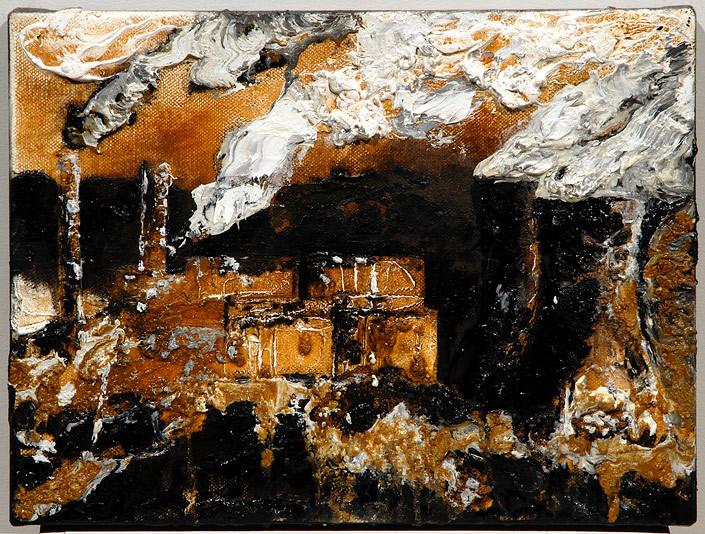 Mandy Martin Powerhouse 2, 2008; ochre, pigment and oil on linen; 30 x 40 cm; enquire