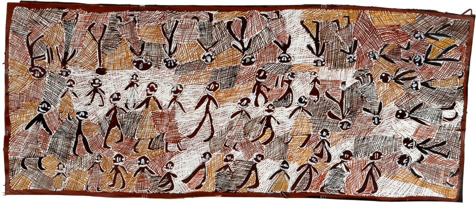 Nyapanyapa Yunupingu Bungul Djama Ceremony, 2008; 3372K; natural earth pigments on bark; 167 x 70 cm; enquire