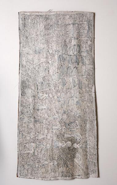 Nyapanyapa Yunupingu 8. Untitled, 2013; 4350W; natural earth pigments on bark; 169 x 84 cm; enquire