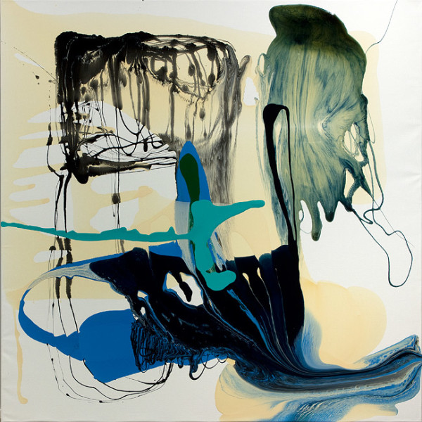 Dale Frank He placed his hand on her plump thigh and said Bees get Hives, 2012; varnish on canvas; 200 x 200 cm; enquire