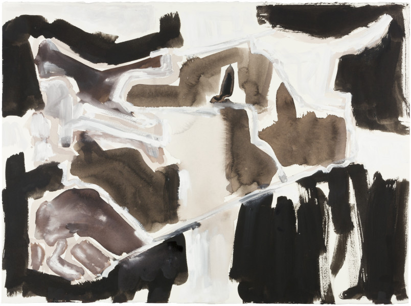 Fiona Hall Cage (Syria map 6), 2017; Cat no.  46; gouche and tapa dye on rag paper; 57 x 76 cm; enquire
