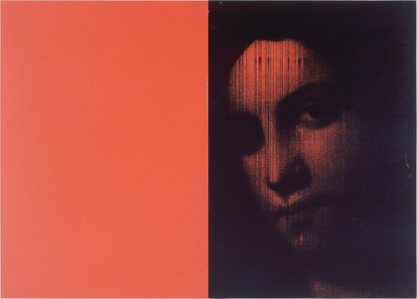 Lindy Lee Orange Vital, 1999; photocopy, oil, acrylic and wax on board; 2 panels, 41.5 x 59 cm; enquire
