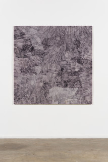 installation view; Nyapanyapa Yunupingu Dharpa Malany, 2014; G03; felt tip pen, earth pigments on discarded photography backdrop (paper); 130 x 130 cm; enquire