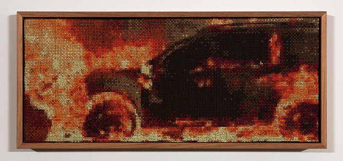 Claire Healy and Sean Cordeiro Tapestry of Disaster, Zero, 2013; cotton cross stitch ; 13.5 x 30.6 cm (framed); enquire