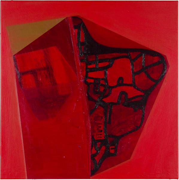 Gareth Sansom Red profile, 2011; oil and enamel on linen; 61 x 61 cm; enquire