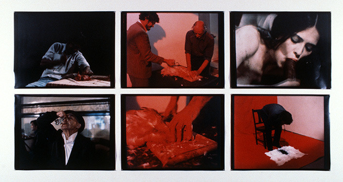 Mike Parr The Wedge (Memories of 1977), 1988; six colour photographs; 208.5 x 410 cm; enquire