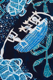 Dhambit Munuŋgurr Milpun milpun (detail), 2020; 3819-20; earth pigments and acrylic on bark; 192 x 99 cm; enquire