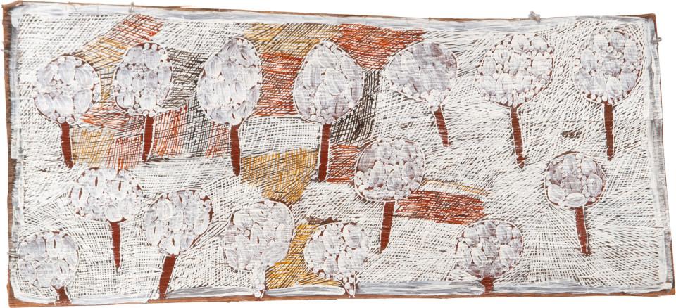 Nyapanyapa Yunupingu 13. Fallen Leaves #3, 2009; 3610Y; Natural earth pigments on bark; 46 x 106 cm; enquire