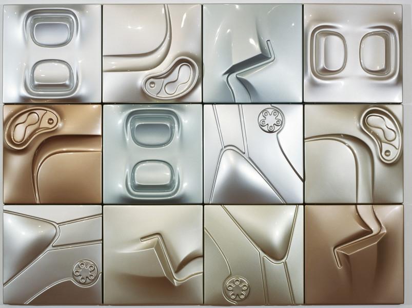 Patricia Piccinini Titanium, 2005; ABS plastic and automotive paint, 12 panels; 150 x 200 x 10 cm; each panel: 50 x 50 x 10 cm; enquire