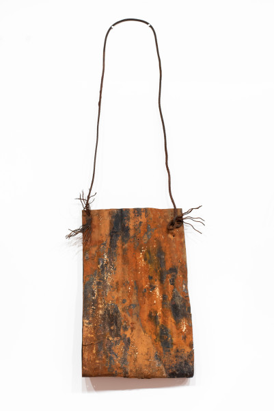 Lorraine Connelly-Northey Narrbong, 2019; CONNL - 0030; burnt corrugated iron, cable wire; 235 x 70 x 17 cm; enquire