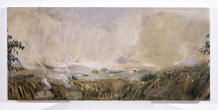 Linda Marrinon Summers Day with North Wind, Euroa, 1996; oil on canvas; 79 x 36 cm; enquire
