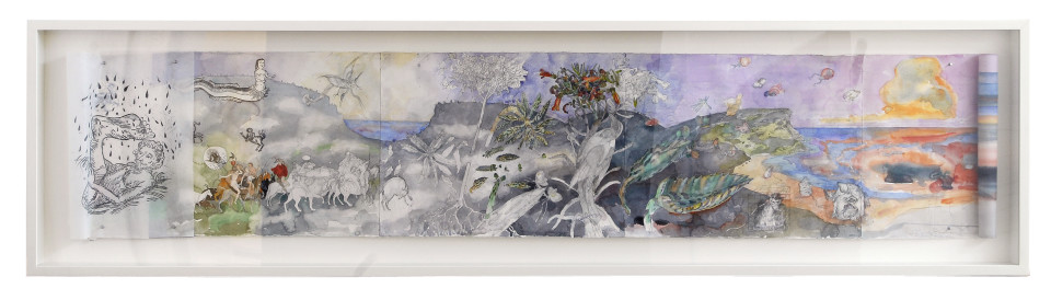 John Wolseley Monsters of the Great South Land, 2001-05; from the series Exhibited in 'Stolen Ritual', 2006; watercolour and graphite on paper; 55 x 290cm (paper size), 78 x 309.5cm (frame size); enquire